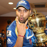 Rohit Sharma with the Champions League T20 2013 Trophy